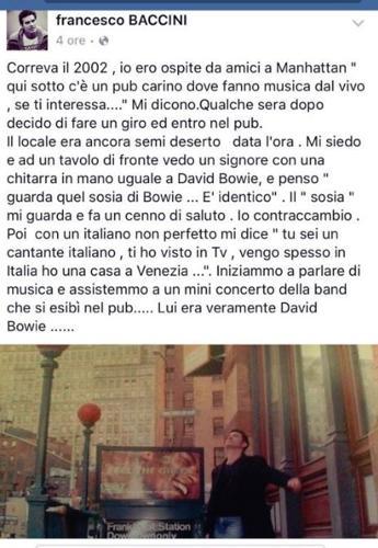 Il giorno in cui Baccini fu riconosciuto da Bowie